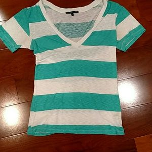 Turquoise and white striped v neck